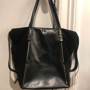 Furla black leather and suede tote